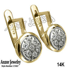 Russian style Rose Gold Earrings 14k Yellow and White Gold Color G -VS2 E1067.