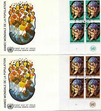 UNITED NATIONS 1974 WORLD POPULATION YEAR BLOCKS 4 ON 2 FDCS GENEVA