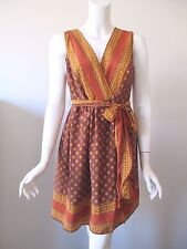Anna Sui for Target Brown Yellow Hobo Prints Silk Wrap Mini Dress L