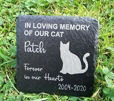 Memorial Plaque For Pet Cat - Personalised Cats Grave Stone  Slate Marker Gift