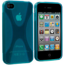 Baby Blue X-Line TPU Rubber Skin Case Cover Accessory for iPhone 4 4S 4G