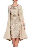 Neu Knielänge Mutter der Braut Kleid Neue Chiffon-Jacke Hochzeit Gast-Kleid