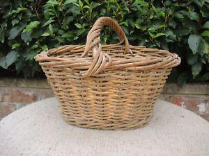 Vintage  Wicker and  Metal Wire Garden Basket Vegetable Basket  (727)