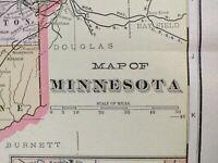 "Vintage 1902 MINNESOTA Map 14""x22"" Old Antique HOPKINS STILLWATER ST PAUL"