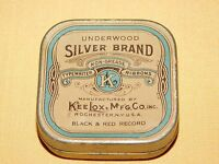 VINTAGE UNDERWOOD SILVER BRAND KEE LOX MFG TYPEWRITER RIBBON TIN  *EMPTY*