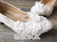Lace white ivory Flower Wedding shoes Bridal flats low high heel pump size 5-12
