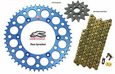 Renthal Blue Sprocket and Gold Chain Kit Yamaha YZ125 YZ 125 05-15 13-52T