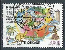 1987 VATICANO USATO I VIAGGI DEL PAPA GIOVANNI PAOLO II 4000 LIRE - VV2