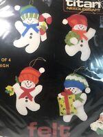 """Vintage Snowman Felt Ornament Kit Titan Needlecraft No. 405 4"""" 1984 USA"""