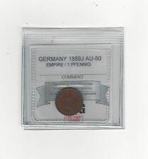 **1889J** Germany, Empire / 1 Pfennig, Coin Mart Graded **AU-50**
