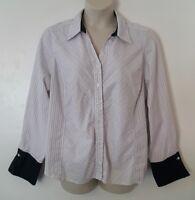 Avenue Black White Striped Long Sleeve Button Down Shirt Top Plus Size 26/28 4X