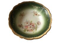Antique Vintage Green White Austria Scalloped Bowl Floral Pattern Gold Trim