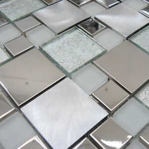 Onyx White Stainless Steel With Glass Mosaic Tiles Sheet For Wall And Floor