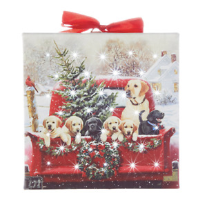 """6"""" LABRADORS IN TRUCK LIGHTED PRINT ORNAMENT w/ EASEL CHRISTMAS RAZ 4011416 NEW"""