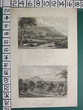 1829 DATED ANTIQUE YORKSHIRE PRINT ~ WILTON CASTLE SEAT OF JOHN LOWTHER