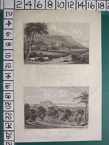 1829 Datierter Antik Yorkshire Aufdruck ~ Wilton Schloss Seat Von John Lowther