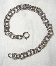 Estate Textured Sterling Silver Double Curb Rope Links Chain Bracelet G