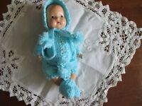 "NO DOLL  DARLING AQUA POM POM KNIT SET MADE FOR 6.5""  EFFANBEE TINYETTE  DOLL"