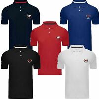 Mens Polo Pique Classic T Shirt Plain Sleeve Short Sleeve Big Pony Horse Top New