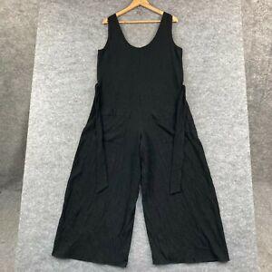 Seed Heritage Womens Jumpsuit Size 12 Black Sleeveless Wide Leg Belt 325.06