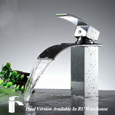 Chrome Finish Bathroom Basin Faucet Waterfall Spout Sink Mixer Tap Deck Mounted