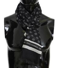 DOLCE & GABBANA Scarf Black Crown Print Cashmere Mens Shawl 70cmx180cm RRP $500