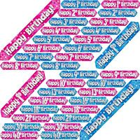 HAPPY BIRTHDAY BANNER BLUE PINK HOLOGRAPHIC FOIL BOY GIRL PARTY CELEBRATION 9 FT