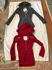 2 Pre-owned Junior Girls A&F Hooded Half Button Up 3/4 Sleeve Tops Size Small
