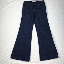 J Brand Kat Wide Flare Leg Jeans Womens Linen Blend Dark Sz 26 X 31