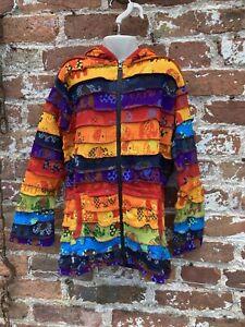 Childrens Rainbow Patchwork hoodie/jacket hippie/boho/festival age 11-12 Years
