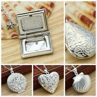 925 Silver Filled Picture Locket Hollow Heart Photo Pendant Necklace Openable