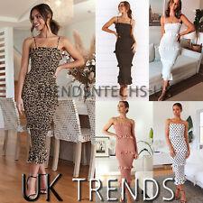 UK Womens Polka Dots  Floral Leopard Strappy Midi Maxi Dress Ladies Bodycon 6-14