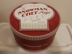 WILLIAMS SONOMA SNOWMAN CHEF MUGS FOOTED CHRISTMAS MUG GIFT BOX SET OF 4 NEW
