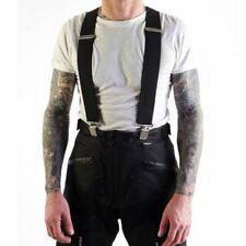 Motohart Motorcycle Bike Trouser Braces Elasticated Heavy Duty Black New