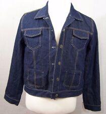 Chicos Design Denim Jacket w Lining and Button Front Dark Wash