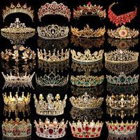 Bridal Gold Crystal Pearl Rhinestone Tiara Crown Wedding Prom Headpiece