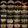 Bridal Gold Crystal Pearl Rhinestone Tiara Crown Wedding Prom Headpiece