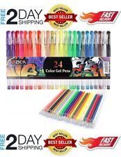 Gel Pens 48 Set Colored Glitter For Coloring Books Drawing Art Marker Kids Adult