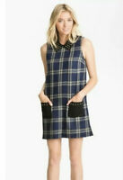 NWT Juicy Couture Regal Blue Plaid Erin Stud Collar Wool Blend Dress S 4 2 $248