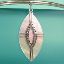 "2"" Diamond Shaped Mother of Pearl 925 Sterling Silver Handmade Pendant Necklace"