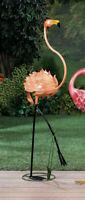 "Large 47"" Pink metal art BABY Flamingo bird Garden outdoor Stake yard art Statue"