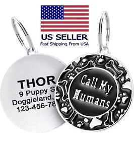 Personalized Call My Humans Dog tag Engraved Cute paw for Puppies with Ring