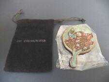 JAY STRONGWATER mini purse mirror/handle, star flower, crystal butterfly, pouch