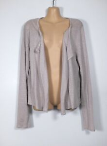 THE WHITE COMPANY pinky-grey fine-knit linen open-front tunic cardigan, L/14-16