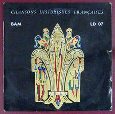 Chansons historiques françaises 33 tours 25 cm