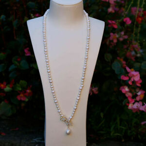 Nice oval round 7-8/5-6mm Freshwater pearl necklace natural white AAA+ 72cm