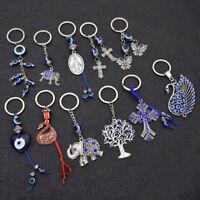 Womens Turkish Blue Evil Eye Pendant Key Chain Bag Charm Lucky Keyrings Gift