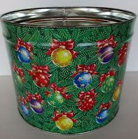 "Vtg Christmas Tin Wilkes Barre PA. Green w Colorful Ornaments  10"" D x 7 3/4"" H"