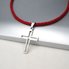 Silver Gothic Hollow Cross Pendant 3mm Braided Red Leather Ethnic Necklace NEW