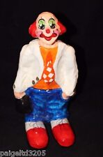 "Vintage Paper Mache Colorful Clown Holding a Black Bag 10"" Tall"